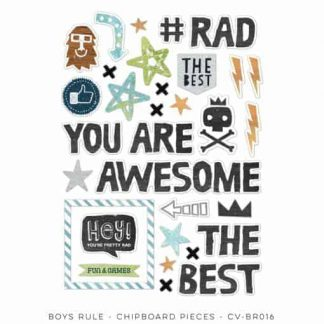 Cocoa Vanilla Studio Boys Rule Chipboard Accents Pack