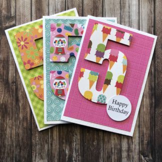 Handmade Birthday Number Card Girl Five