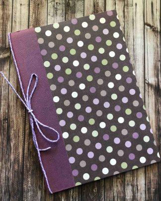 Handmade A5 Notebook Purple Dots