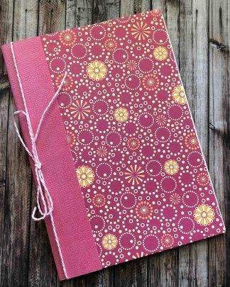 Handmade A5 Notebook Pink Flowers