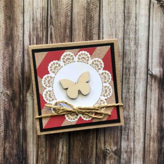 Handmade Sticky Note Pad Butterfly Red Chevron
