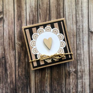 Handmade Sticky Note Pad Heart Black Stripe