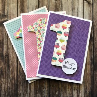 Handmade Birthday Number Card Girl One Blue