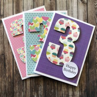 Handmade Birthday Number Card Girl Three