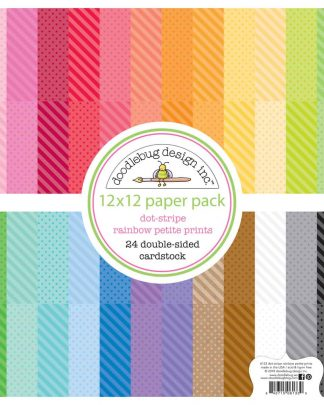 Doodlebug Design 12x12 Dot Stripe Rainbow Petite Prints Pack