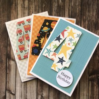 Handmade Birthday Number Card Boy Four