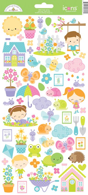 Doodlebug Design Icon Stickers Simply Spring