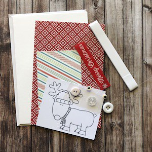 DIY Card Kit Christmas Reindeer contents